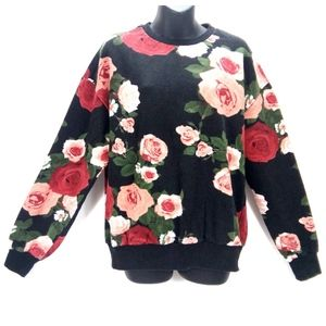 Divided 100% Cotton Floral Black/Pink Sweater Sz M